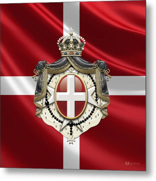 Order Of Malta Coat Of Arms Over Flag Metal Print