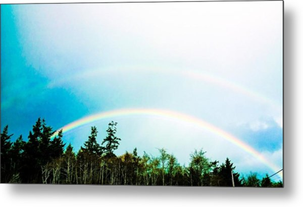 Oregon Double Rainbow Metal Print