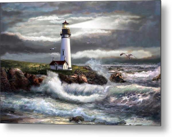 Oregon Lighthouse Beam Of Hope Metal Print