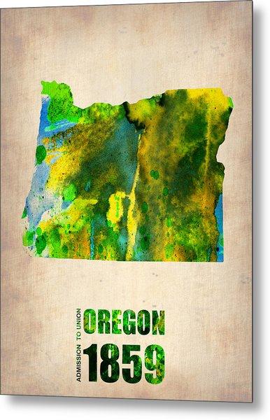 Oregon Watercolor Map Metal Print
