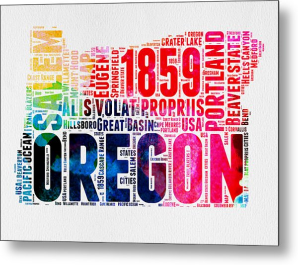 Oregon Watercolor Word Cloud Metal Print