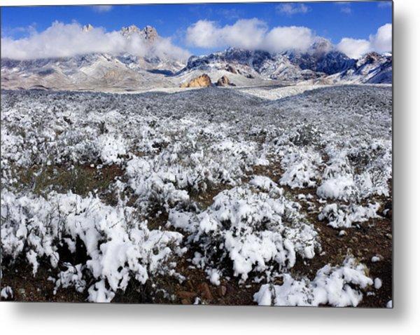 Organ Mountains With Snow Metal Print by Patrick Alexander