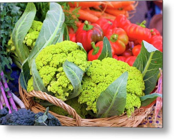 Organic Green Cauliflower At The Farmer's Market Metal Print