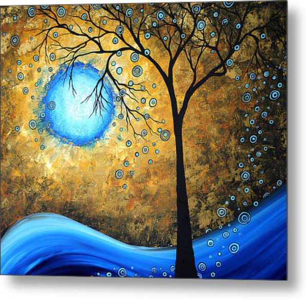 Orginal Abstract Landscape Painting Blue Fire By Madart Metal Print