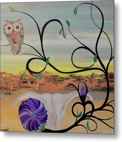 Original Acrylic Artwork By Mimi Stirn - Hoomasters Collection -hooo'keeffe #415 Metal Print
