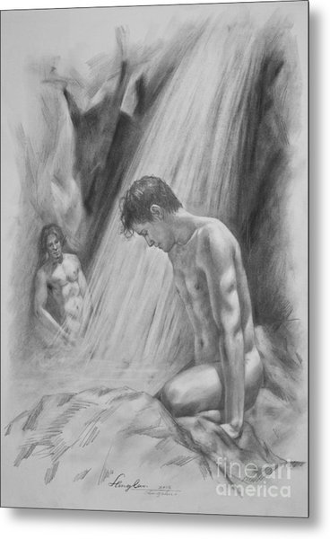 Original Charcoal Drawing Art Male Nude By Twaterfall On Paper #16-3-11-16 Metal Print