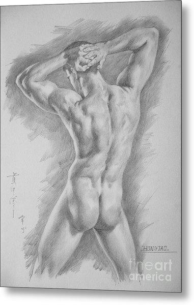 Original Charcoal Drawing Art Male Nude  On Paper #16-3-11-25 Metal Print