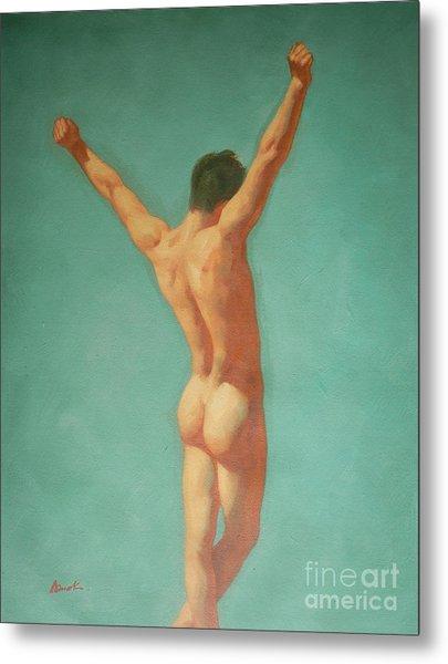 Original Male Nude Oil Painting Gay Boy Art On Linen-0022 Metal Print