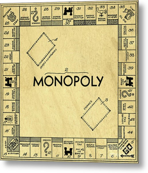 Original Patent For Monopoly Board Game Square Metal Print
