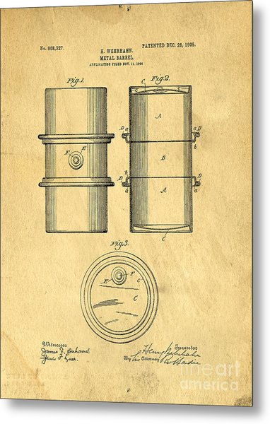 Original Patent For The First Metal Oil Drum Metal Print