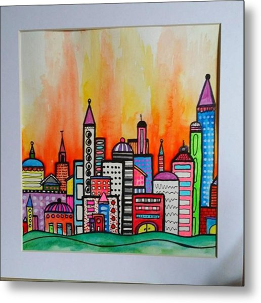 Original #watercolor ..fire In The Metal Print
