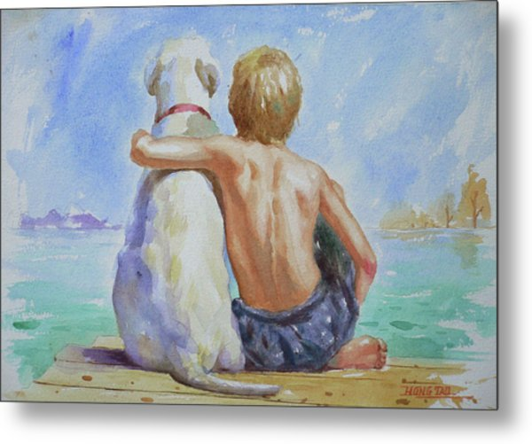 Original Watercolour Painting Nude Boy And Dog On Paper#16-11-18 Metal Print