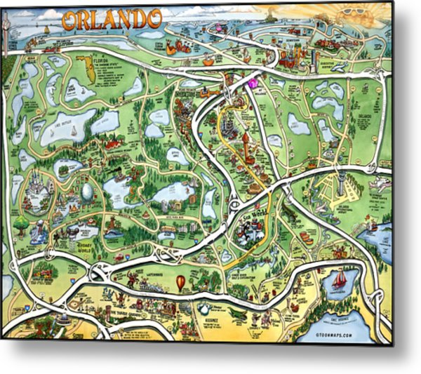Orlando Florida Cartoon Map Metal Print