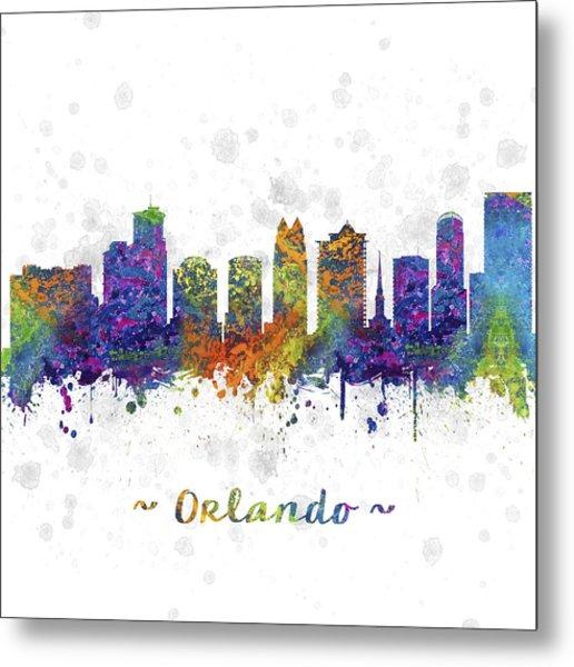 Orlando Florida Skyline Color 03sq Metal Print