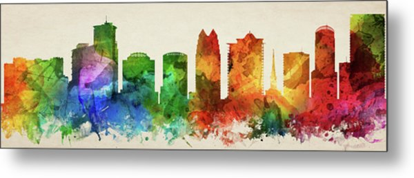 Orlando Skyline Panorama Usflor-pa03 Metal Print