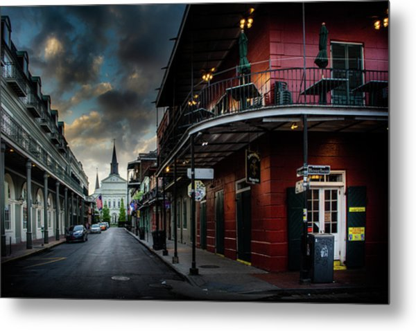 Orleans Street To St Louis Cathedral Metal Print