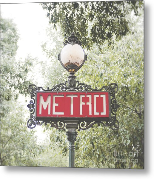 Ornate Paris Metro Sign Metal Print