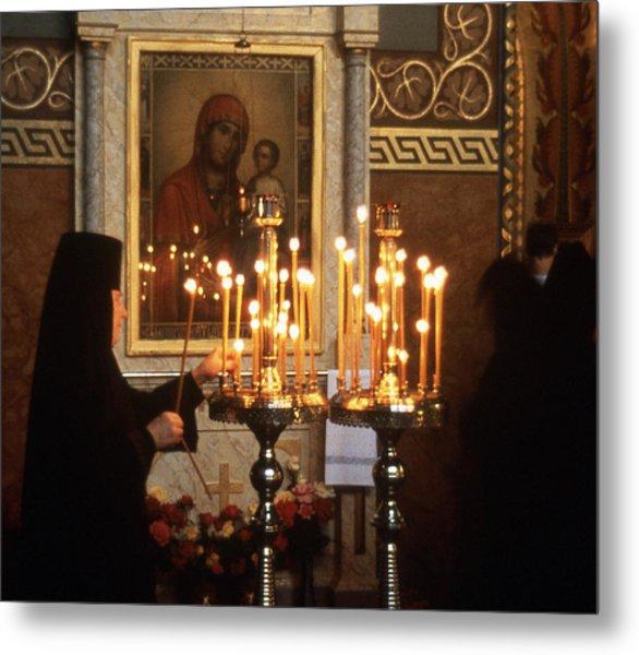 Orthodox Church Georgia Nuns Lighting Prayer Candles Metal Print by Richard Singleton