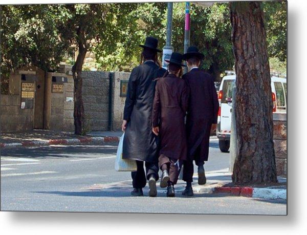Orthodox Jews In Jerusalem Metal Print by Susan Heller