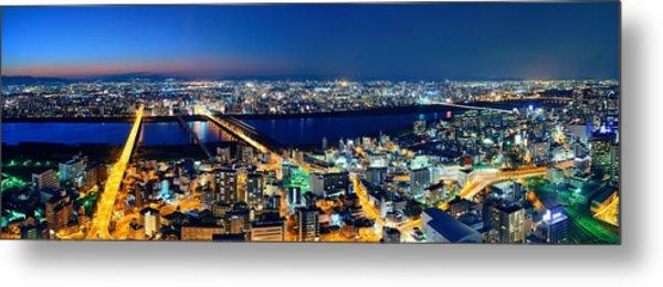 Osaka Night Rooftop View Metal Print