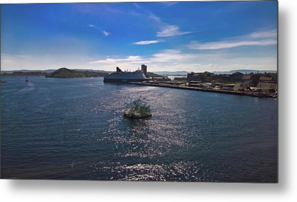 Oslo Fjord From The Roof Of The National Opera House Metal Print