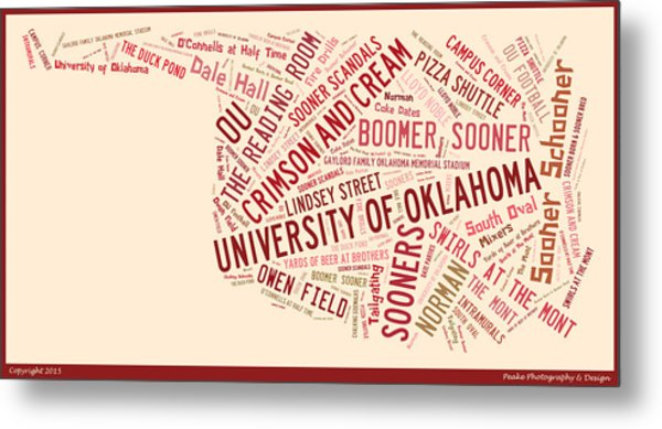 Ou Word Art University Of Oklahoma Metal Print