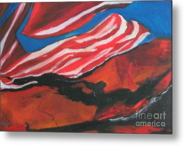 Our Flag Their Oil Metal Print by Patrick Mills