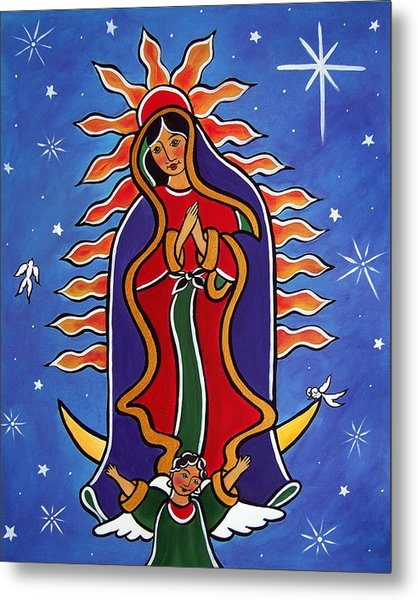 Metal Print featuring the painting Our Lady Of Guadalupe by Jan Oliver-Schultz