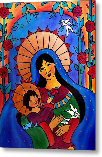 Metal Print featuring the painting Our Lady Of The Garden by Jan Oliver-Schultz