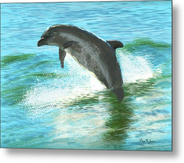 Metal Print featuring the digital art Out For A Swim by Barry Jones