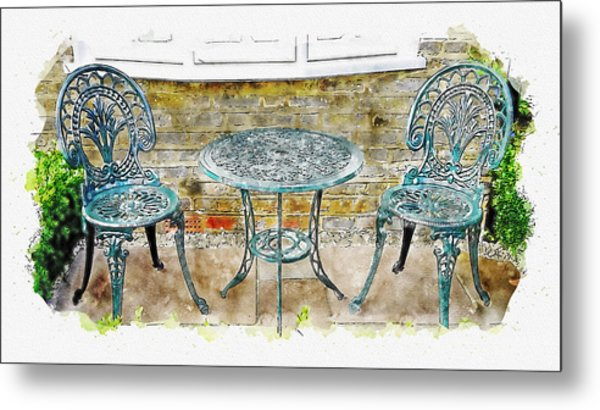Outdoor Dining Metal Print