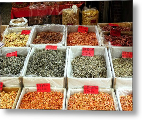 Outdoor Market For Dried Seafood Metal Print