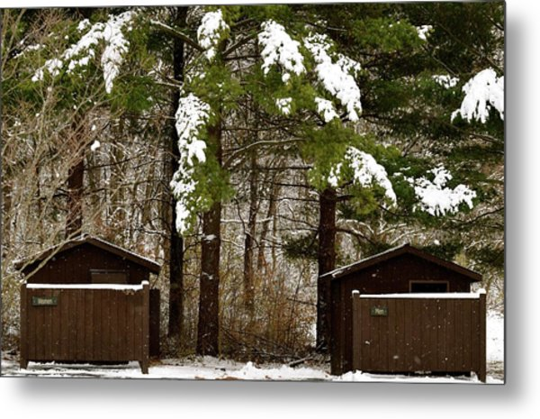 Outhouses In The Cold Metal Print