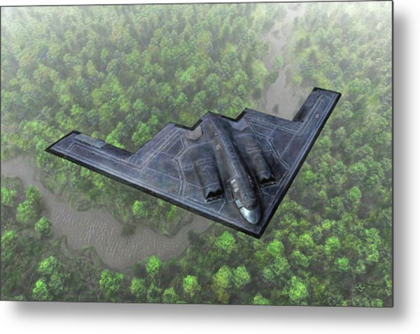 Over The River And Through The Woods In A Stealth Bomber Metal Print