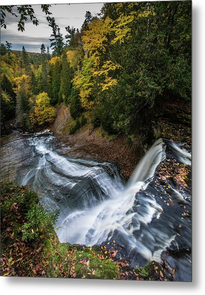 Over The Top - Laughing Whitefish Falls Metal Print