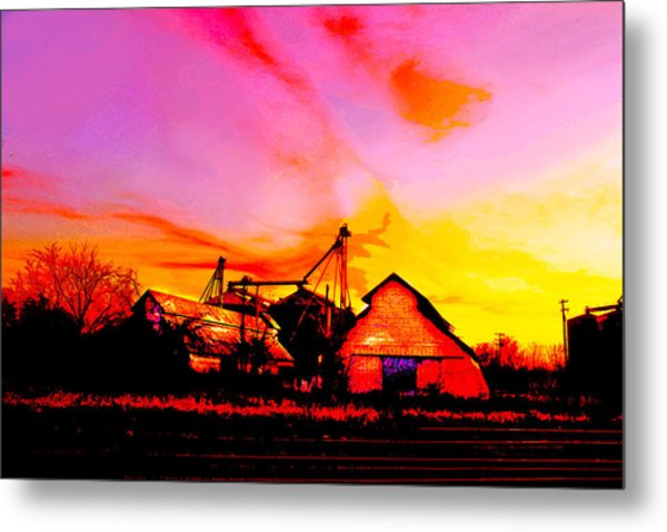 Over The Tracks --somewhere In Texas Metal Print