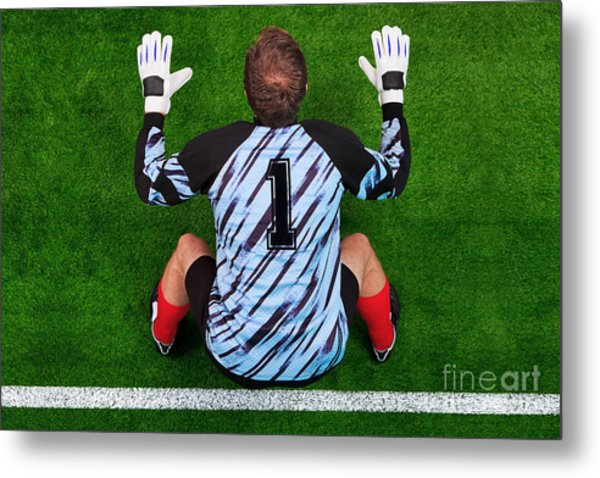 Overhead Shot Of A Goalkeeper On The Goal Line Metal Print