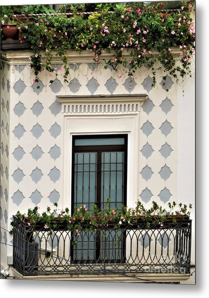 Overlooking The Piazza Metal Print