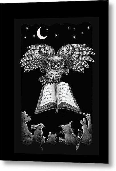 Owl And Friends Blackwhite Metal Print