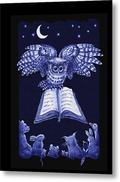 Owl And Friends Indigo Blue Metal Print
