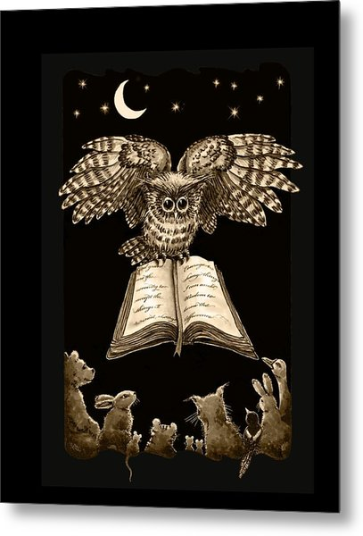 Owl And Friends Sepia Metal Print