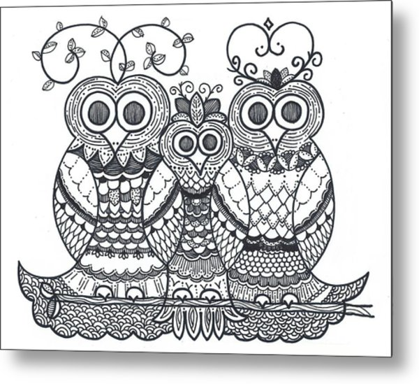 Owl Family Metal Print