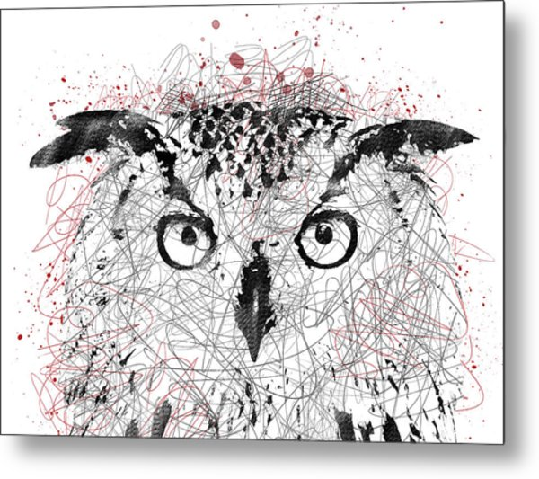 Owl Sketch Pen Portrait Metal Print