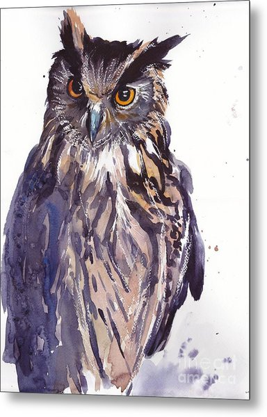 Owl Watercolor Metal Print