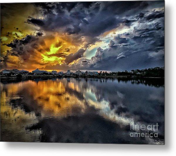 Oyster Lake Sunset Metal Print