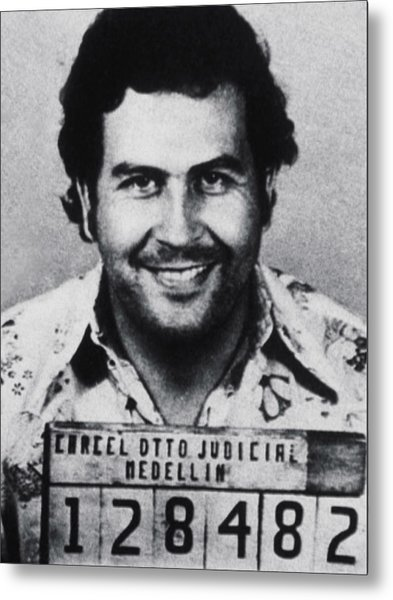 Pablo Escobar Mug Shot 1991 Vertical Metal Print