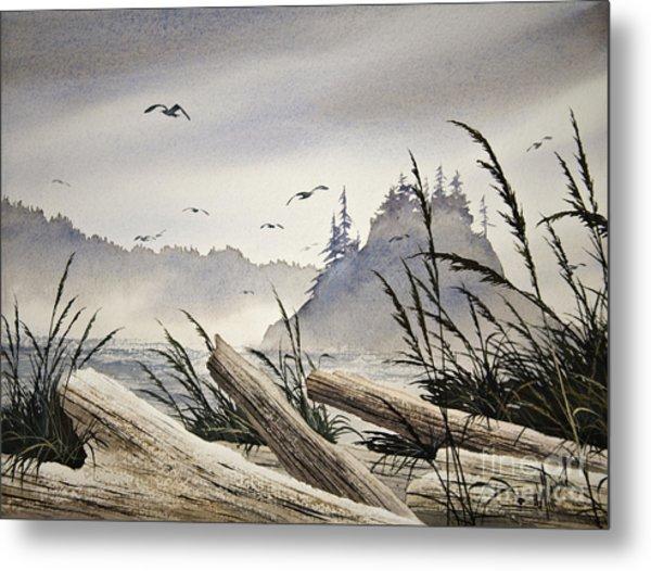 Pacific Northwest Driftwood Shore Metal Print