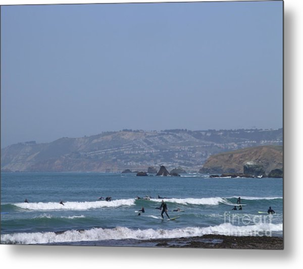 Metal Print featuring the photograph Pacifica Surfing by Cynthia Marcopulos