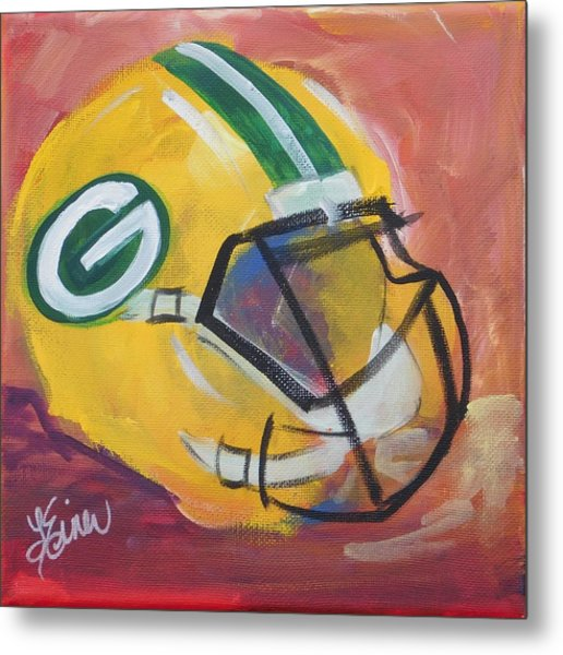Packer Helmet Metal Print