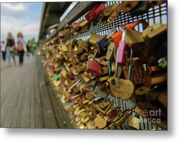 Padlock Bridge Metal Print